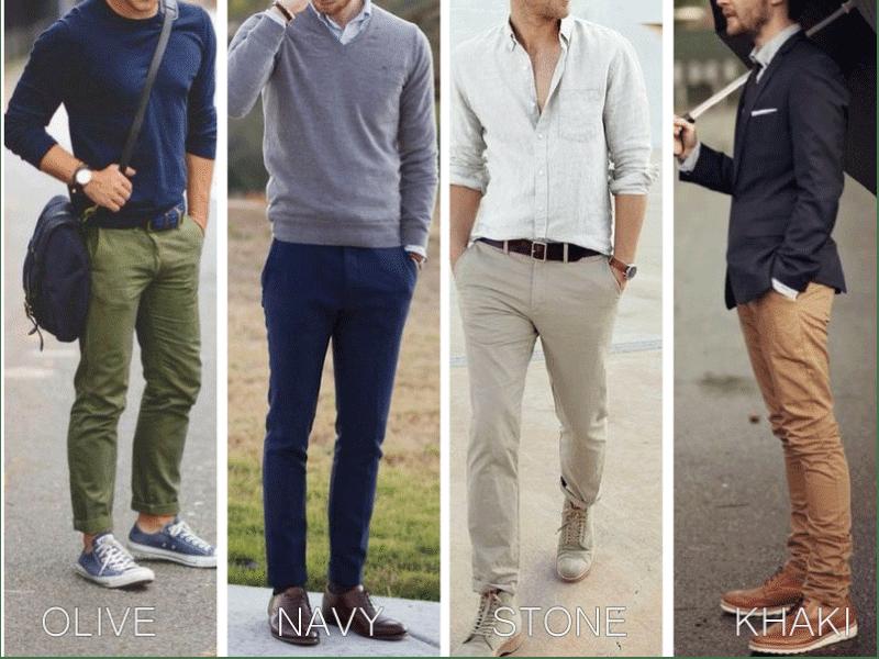 Các màu quần chinos phù hợp nhất cho anh em tham khảo