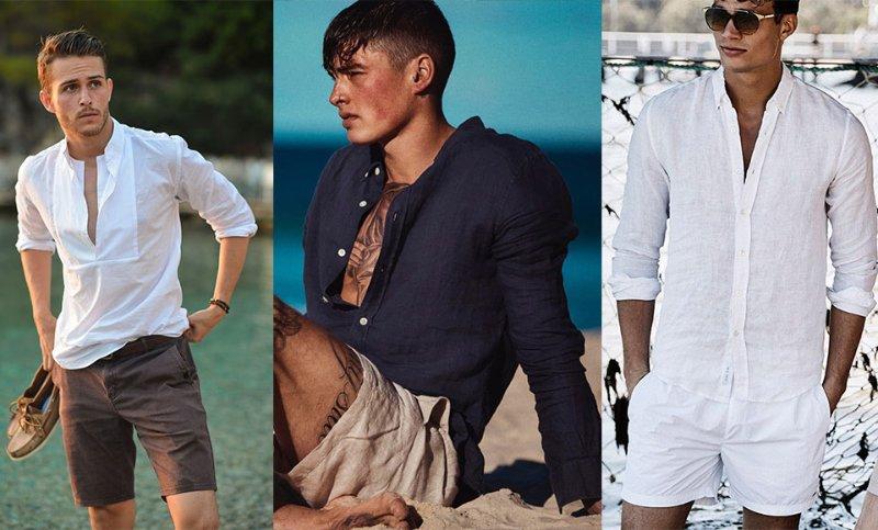 Áo sơ mi cùng quần short là bộ trang phục dạo biển hoàn hảo