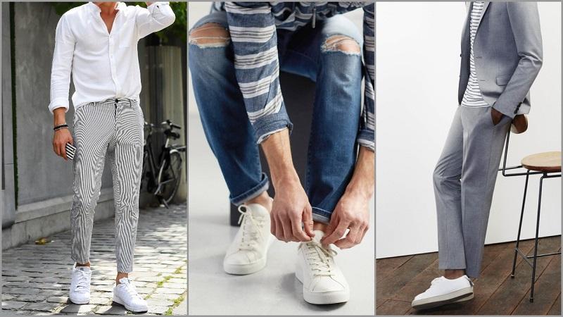Giày trắng là phụ kiện không thể thiếu trong tủ giày của các chàng